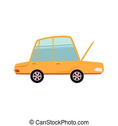 Cartoon, comic style car with open front hood - Funny...