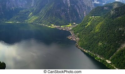 Drone aerial view - flying over Hallstatt, Austria - Drone...