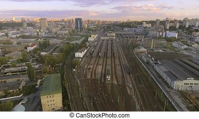 Railway yard with a lot of railway lines and trains. Kiev,...