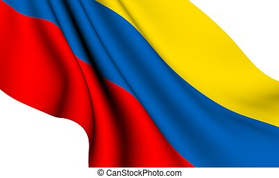 Flag of Colombia against white background. Close up.