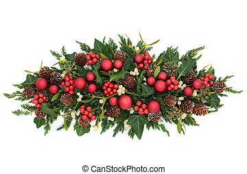 Christmas Decoration with Red Baubles - Christmas table...