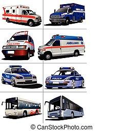 Set of municipal transport images Vector illustration