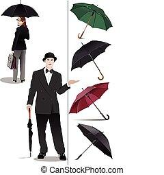 Four types of opened rain umbrella