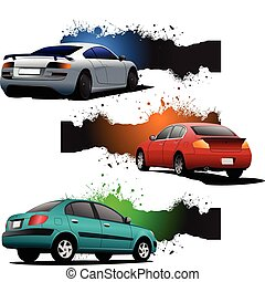 Three grunge Banners with cars. Re
