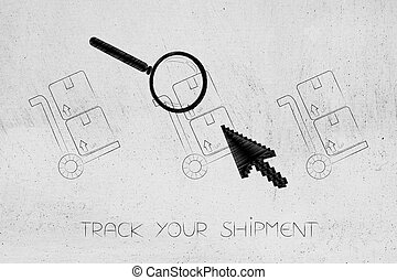 parcels with cursor clicking and magnifying glass analyzing...
