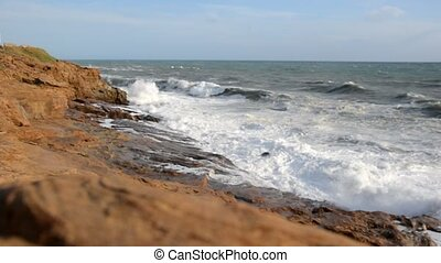Rough sea on the Livorno coast - View of rough sea on the...