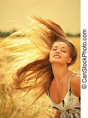 Woman with magnificent hair - Photo of beautiful woman with...