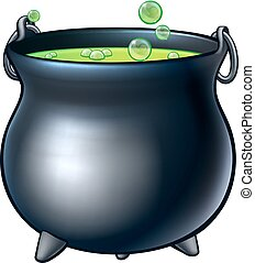 Cartoon Halloween Witch Magic Cauldron - A cartoon Halloween...