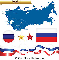 Russian Federation Set, Russia Map CIS — Commonwealth of...