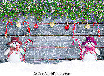Christmas background in vintage style with two funny smiling...