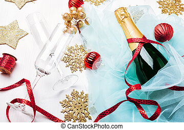 Bottle of a champagne and glasses. - Celebration Flat lay....