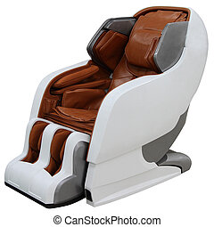 Brown massage chair. - Brown massage chair isolated on white...
