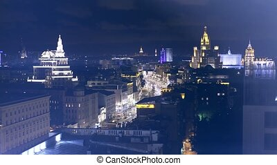 Moscow night cityscape, Russia