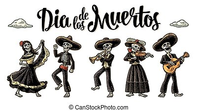 Dia de los Muertos. The skeleton in Mexican national...