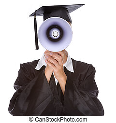 Graduation woman - Full isolated studio picture from a young...