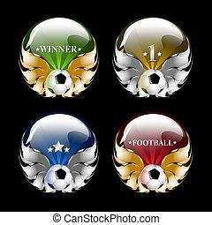 vector football emblem on a black background