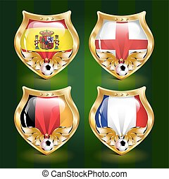 Vector football emblem: Spain, England, Germany, France