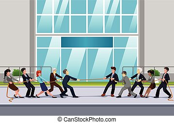 Business People in Tug of War Illustration - A vector...