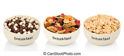 Three types of flakes for a breakfast