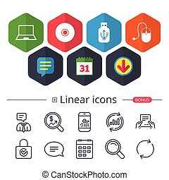 Notebook pc and Usb flash drive stick icons. - Calendar,...