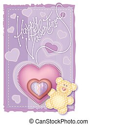 Greeting Card Valentine's Day. Merry embroidered teddy bear...