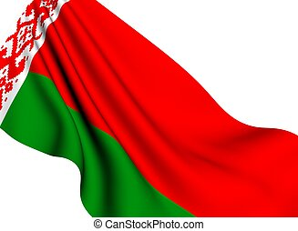 Flag of Belarus against white background. Close up.
