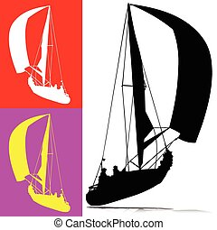 sailing sport vector silhouettes