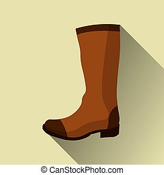 hight boots icon with long shadow on yellow. vector...