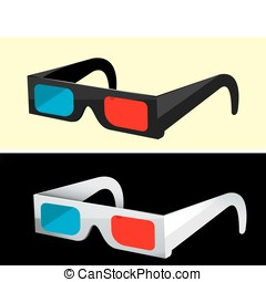 3d glasses - A pair of modern 3-D movie glasses isolated on...