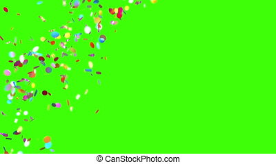 Confetti Rain on a Green Background, 3d Animation 4K. look...