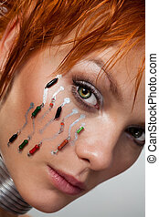 Close-up face of futuristic woman - Close up face of a...