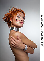 robot woman - Beauty shoot of robot woman with on her face