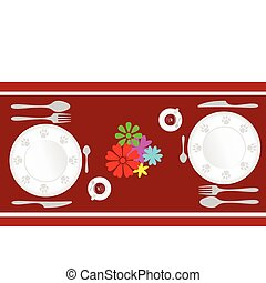 set the table for lunch in two illustration