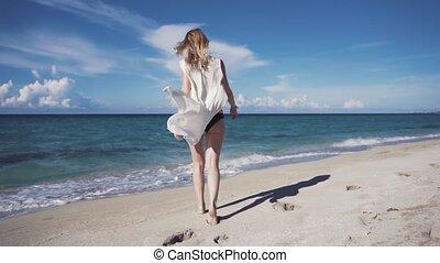 Girl, beach, sea, wind in your hair, girl in bikini walking...