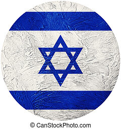 Grunge Israel flag. Israel button flag Isolated on white...
