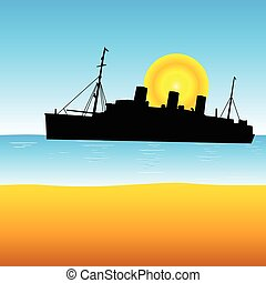 ship on the ocean vector illustration