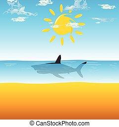 shark in ocean illustration