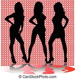 sexy three girl shadow vector silhouettes