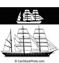 ship black and white illustration