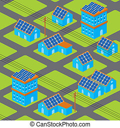 Solar houses pattern - Isometric cityscape seamless pattern...