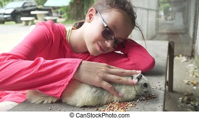 Young girl stroking squirrel stock footage video - Young...