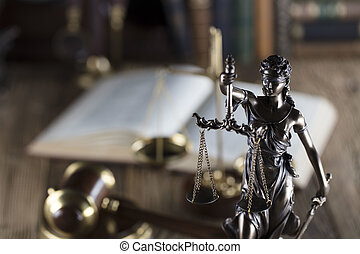 Law concept. - Old court library. Vintage clock. Statue of...