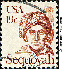 Sequoyah - UNITED STATES OF AMERICA - CIRCA 1980: A stamp...