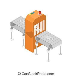 Modern production line isometric 3D icon. Industrial goods...