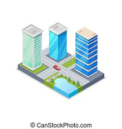 Downtown district isometric 3D icon. Skyscrapers, apartment,...