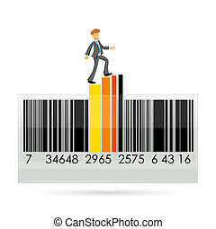 barcode with graph and businessman