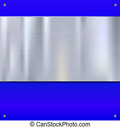 Stainless steel banner on blue background, 3d illustration....