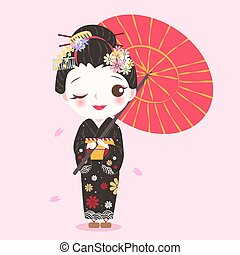 beauty cartoon geisha on the pink background