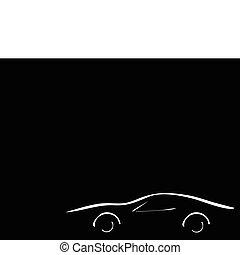 sport car on black background