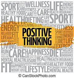 Positive thinking word cloud collage, health concept...